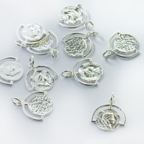 Zdjęcie - Srebrna zawieszka moneta w ramce AG925