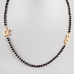 Zdjęcie - Naszyjnik ze stali chirurgicznej z nieskończonością, gwiazdką i czarnymi kryształami złoty