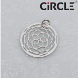 Zdjęcie - Zawieszka okrągła rozeta róża stal chirurgiczna z kółeczkiem