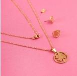 Zdjęcie - Komplet biżuterii ze stali chirurgicznej koniczynka w kółku złoty