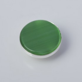 Zdjęcie - Srebrna wpinka Kaleidoskop kocie oko zielony