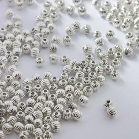 Zdjęcie - Koraliki metalowe kulki rowkowane