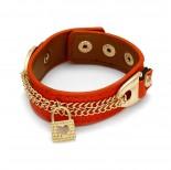 Zdjęcie - Pomarańczowa bransoletka łańcuszki z kłódkami