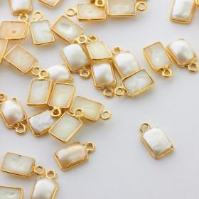 Zdjęcie - Zawieszka perła prostokątna w okuciu pozłacanym AG925