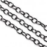 Zdjęcie - Czerniony łańcuch aluminiowy owal satynowany