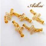 Zdjęcie - Zapięcie do pereł ozdobne z cyrkoniami złocone