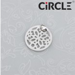 Zdjęcie - Zawieszka okrągła kwiatek wycinany ciemne srebro z kółeczkiem