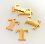 Zdjęcie - Zawieszka ze stali szlachetnej literka T złota