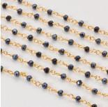 Zdjęcie - Łańcuch z kryształkami oponkami 3x4mm hematite