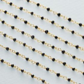 Zdjęcie - Łańcuch srebrny ag925 pozłacany ze spinelem fasetowanym