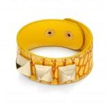 Zdjęcie - Żółta bransoletka skóra krokodyla z piramidami