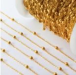 Zdjęcie - Łańcuch ze stali chirurgicznej z kuleczkami złoty