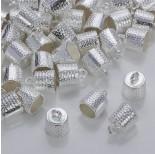 Zdjęcie - Okrągłe końcówki w kolorze srebrnym z kropeczkami