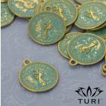 Zdjęcie - Zawieszka moneta Elżbieta II w złotym kolorze z patyną