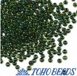 Zdjęcie - Koraliki TOHO Round Inside-Color Rainbow Peridot/Opaque Green Linedgreen lined