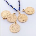 Zdjęcie - Srebrna moneta zawieszka Elżbieta II Dei Gratia Regina pozłacana