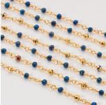 Zdjęcie - Łańcuch z kryształkami oponkami 3x4mm metallic blue with gold