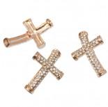 Zdjęcie - Krzyż z kryształkami okrągły rose gold