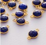 Zdjęcie - Lapis lazuli krążek fasetowany łącznik w okuciu pozłacanym ag925