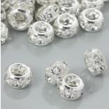 Zdjęcie - Koralik oponka z kryształkami w okuciu koloru srebrnego
