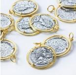 Zdjęcie - Srebrna antyczna moneta w złotym okuciu AG925 złoty