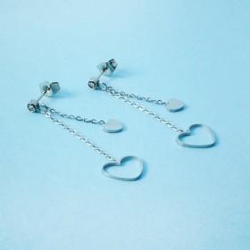 Zdjęcie - Kolczyki ze stali chirurgicznej serduszko wycięte srebrne