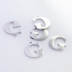Zdjęcie - Zawieszka ze stali szlachetnej literka G srebrna