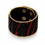 Zdjęcie - Czarno czerwona bransoletka włochata zebra