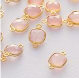 Zdjęcie - Różowy kryształ kwadrat fasetowany łącznik w okuciu pozłacanym ag925