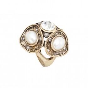 Zdjęcie - Pierścień duży perłowy kolor antyczny złoty