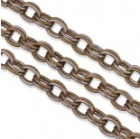 Zdjęcie - Satynowy brąz łańcuch aluminiowy owal podwójny