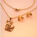 Zdjęcie - Komplet biżuterii ze stali chirurgicznej z kolczykami kotek origami
