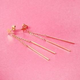 Zdjęcie - Kolczyki ze stali chirurgicznej gwiazdka i patyczki złote
