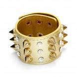 Zdjęcie - Złota bransoletka ćwieki z kryształkami rzędy