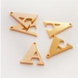 Zdjęcie - Zawieszka ze stali szlachetnej literka A złota