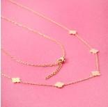 Zdjęcie - Naszyjnik z mini zawieszkami ze stali chirurgicznej koniczyna marokańska złoty