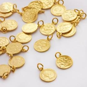 Zdjęcie - Srebrna zawieszka moneta Królowa Elżbieta AG925 złoty