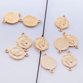 Zdjęcie - Srebrna moneta antyczna mała łącznik pozłacany