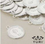 Zdjęcie - Zawieszka moneta Królowa Elżbieta 2 w srebrnym kolorze