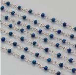 Zdjęcie - Łańcuch z kryształkami oponkami 3x4mm metallic blue