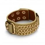 Zdjęcie - Beżowa bransoletka łańcuszki pancerki potrójne
