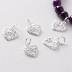 Zdjęcie - Srebrna zawieszka serce wycinane z kółeczkami, próba Ag925
