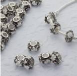 Zdjęcie - Koralik emaliowany z kryształkami biały kwiat