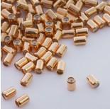 Zdjęcie - Zapięcie stoper z silikonem do cienkich sznureczków walec złoty