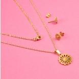 Zdjęcie - Komplet biżuterii ze stali chirurgicznej kwiatek złoty