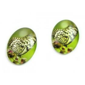 Zdjęcie - Kaboszon szklany owalny dostojny motyl