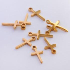 Zdjęcie - Mini zawieszka ze stali chirurgicznej krzyżyk wycięty złoty