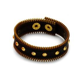 Zdjęcie - Czarna bransoletka z zamkami