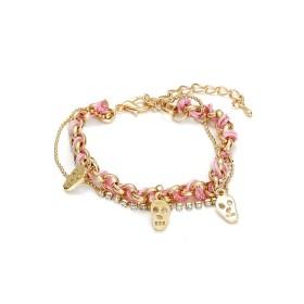 Zdjęcie - Różowa bransoletka łańcuszek z czachami przeplatany