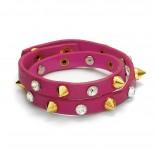 Zdjęcie - Różowa bransoletka ćwieki z cyrkoniami